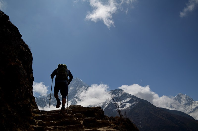 Hiking along the trail of Everest