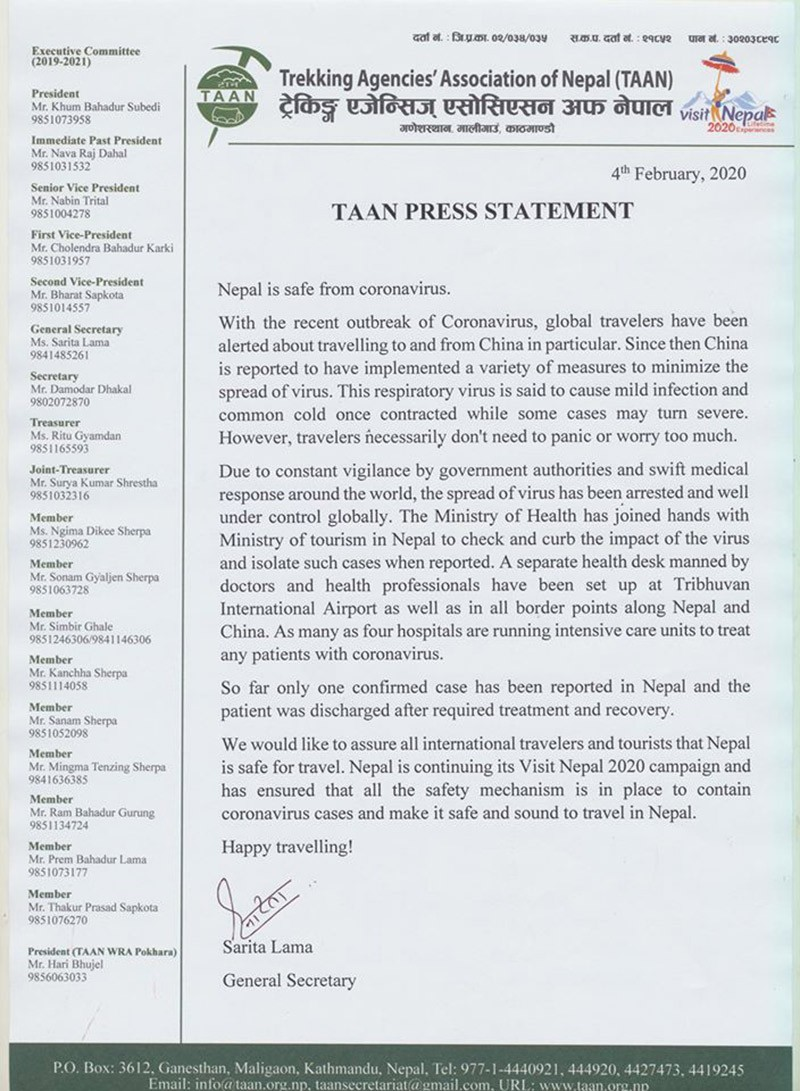 TAAN Press Release for Corona Virus Issue