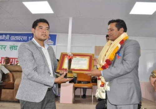 Md of Himalayan Scenery Treks Being Awarded with Tourism Entrepreneur Award